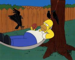 Here's Homer Simpson, enjoying a donut in a hammock with some creepy crows